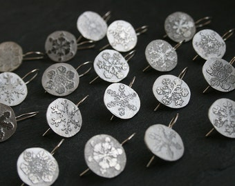 Wilson Bentley's snowflakes earrings - Pick your snowflakes pair!  - Sterling silver assimetrical earrings