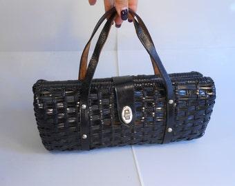 Chic Vixens Always in Black - Vintage 1950s Classic Black Vinyl Straw Barrel Handbag