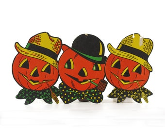 Vintage Halloween Decorations, Paper Pumpkins, Pumpkin Heads, Beistle Halloween Cutouts, Jack O Lantern, Set of Three