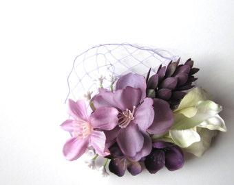 Purple Wedding Hair Flower Clip Fascinator or Brooch Pin, Optional Netting