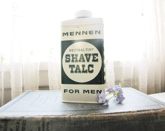 Vintage Tin Talc Mennen Shave Talc 1950s Mens Grooming Shaving Vintage Advertising from AllieEtCie