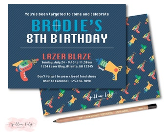 Laser Tag Birthday Party Invitation - DIY Party Printable  / Laser Tag Birthday / Laser Gun