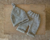 Baby Gray Pants and Hat Set, Baby Boy Prop Pants, Baby Boy Hat Set, Baby Hat, Photo Prop, Newborn Props, RTS, Baby Props, Knit Pants