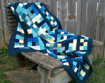 CIJ SALE Blue Yellow Quilt Patchwork Handmade Quilted Indigo Teal Jinny Beyer Quiltsy Handmade FREE U.S. Shipping
