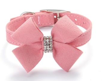 "Pink Bow Rhinestone Dog collar fits 7-13"" necks"