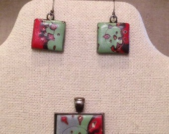 Polymer Clay Necklace and earring set in metalic green, red, black and silver.