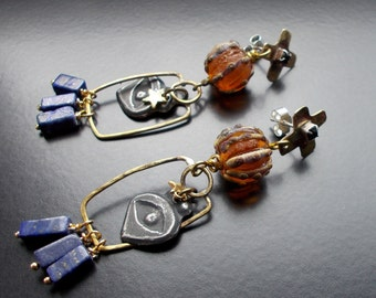 Egyptian Deity Earrings, Statement Dangles, Tribal Earrings, Orange and Cobalt, Lapis Lazuli, Sterling Silver, All seeing eye