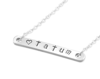 Name Bar Necklace, Hand Stamped Sterling Silver, little girl necklaces personalize flower girl gifts teen jewelry birthday handstamped TATUM