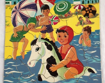 Vintage Child's Puzzle S P Co 7403 Hidden Shape Pieces Children at the Beach with Horse 1950's