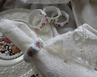 Vintage Shabby Chic English  Bone China Floral Napkin Rings,set of four