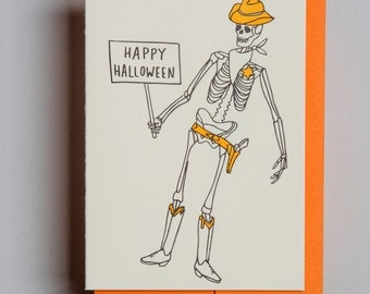 "Letterpress card,  ""Happy Halloween!"""
