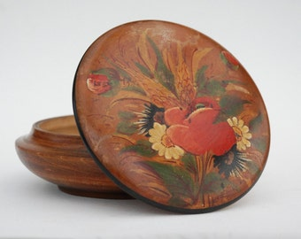 Wooden Trinket box, Jewelry box, French vintage round wood box with lid, Signed Hand painting, Mother gift idea.