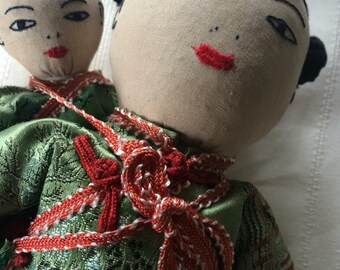 SALE!! Vintage Chinese Doll with Baby Doll Hand stitched Clothes Was 49.99 Now 34.99