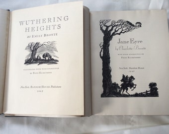 Two Vol Set Jane Eyre and Wuthering Hieghts by Bronte Sisters Wood Engravings