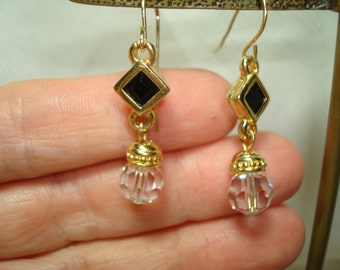 1992 Swarovski Gold and Black Crystal Dangle Earrings.