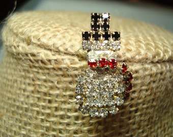 1970s Small Rhinestone Winter Snowman Pin.