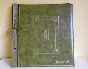 Large Vintage Scrap Book, Olive Green Leather Album, Scrapbooking