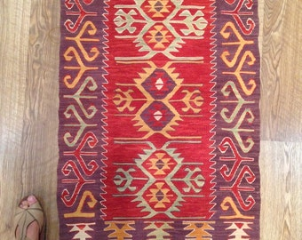 """New Handwoven Traditional Design Small Natural Dyes Turkish Kilim / Natural Dyes / 2'1""""x3'2"""" /64x98cm"""