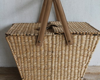 Vintage Rattan & Leather Picnic Basket