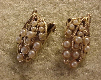 Cluster Bead Clip On Earrings Faux Pearl beads