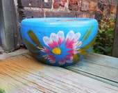 Vintage Flower Pot Terracotta planter Hand painted Mexico pottery BLUE white pink flower rustic spanish garden home