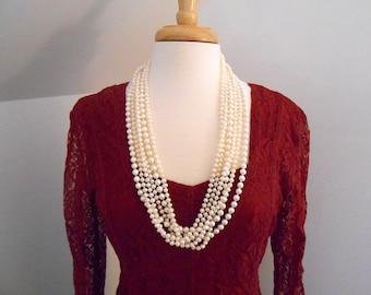 Vintage Crinkled Red Lace Dress M Size 8 - 10