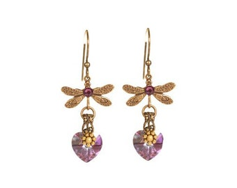 Earrings Pretty Purple, with Swarovski crystals and brass findings, ready to ship, gift for her, made with love