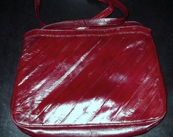 SALE Deep Red Eelskin Shoulder Handbag Vintage 1970s  Item #33 Purses