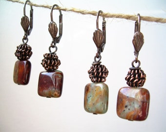Natural Rainbow Agate and Copper Earrings ~ 1 Pair, Stone Jewelry, Lever Back, Desert, Gift for Her