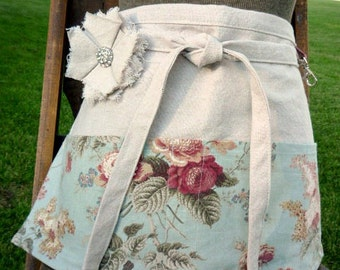 Cottage Chic Soft Blue Floral Half Apron - Roses - Vendor - Waitress Apron