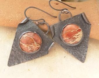 Orange Sea Sediment Earrings in Textured Copper