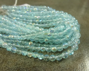Czech Glass Druk Aqua Capri AB 4mm 50pc Strand Round Beads