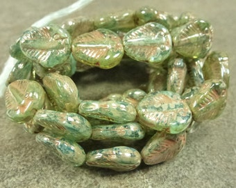 Translucent Green Aqua Picasso Czech Pressed Glass Trilobite Beads 13x11mm 10pc Rustic Etched