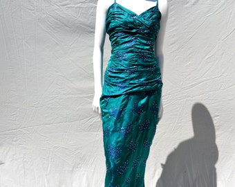 Vintage 50's bombshell dress sexy evening glam pin up dress size 12 couture HAROLD LUNGER inc. NYC  gown by thekaliman