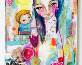 Mother and boy - big painting, original art, mixed media painting, whimsical art,colorful