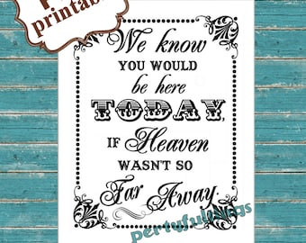 INSTANT DOWNLOAD- If Heaven Wasn't So Far Away ---Printable PDF File