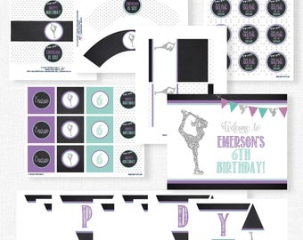 Ice Skating Party Printables, Skating Birthday Decorations, Silver Glitter Skater, Printable Party Package