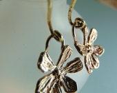 Artizan-  Whimsical Artisan Handmade Flower Earring Charms in Gold Bronze Earrings