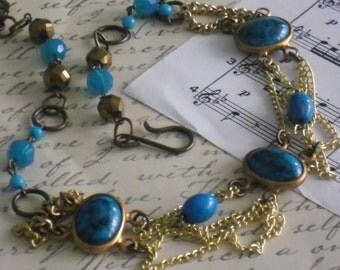 vintage turquoise cabachon chain bib necklace~ooak~assemblage necklace