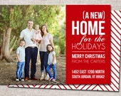 "Photo Christmas Card, New Address Card: PRINTABLE (""New Home for the Holidays"" We Moved Christmas card)"