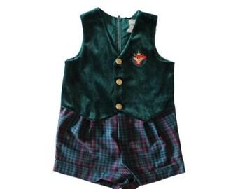 30% off sale // Vintage 90s Nautical Baby Romper Green Velvet Plaid Shorts - boys girls 18 months