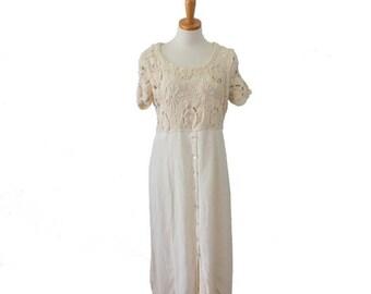 30% off sale // Vintage 90s Full Length MACRAME Summer Dress // grunge, ivory, beach // Women Medium
