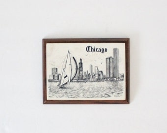 sale // Vintage 80s Chicago Marble Etched Wood Wall Hanging - Nautical, Living Room Decor, Cottage