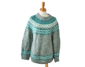 Vintage 80s Edinburgh Woollen Mill Handknit Fair Isle Women M Sweater - mint green, soft
