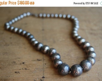 SALE Vintage Taxco Mexican sterling silver graduated bead necklace