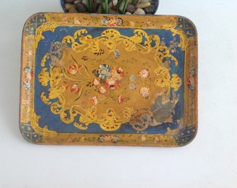 Vintage Florentine Rose Tray 12 Inches Long / Blue Red Gold Gilt Shabby Chic Tray Japan at Retro Daisy Girl
