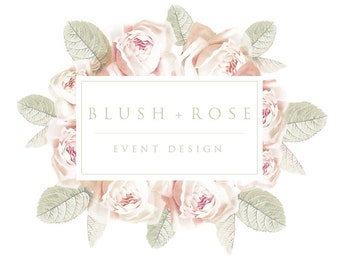 Logo design, Floral Logo, Rose Logo, Shabby Chic Logo, Boho Logo, Florist Logo, Wedding Logo, Business Logo, Photography Logo
