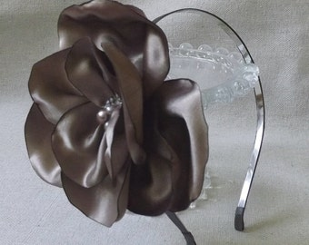 Thin Charcoal Headband with Oversized Taupe Flower
