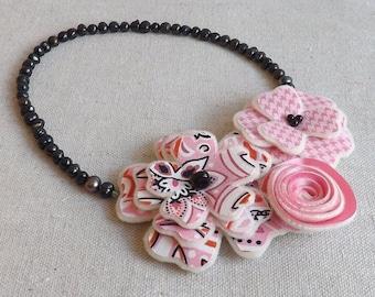 Flower Collage Trio Necklace in Pink & Black