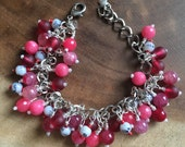 Pink, Red and White Beaded Cluster Bracelet, Valentines Bracelet, Womens Bracelet